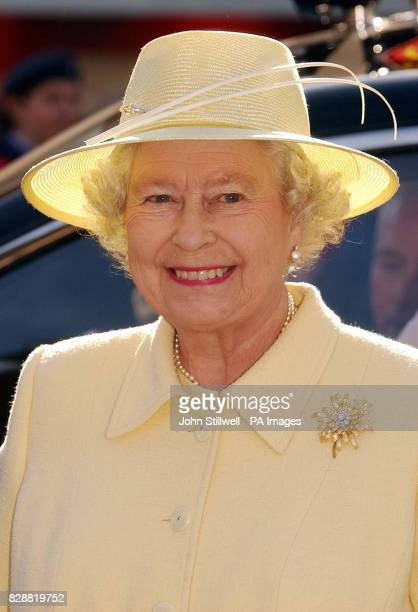 Queen Elizabeth II smiles as she tours the market square in Enfield Town centre London During the visit to the London Borough of Enfield the Queen...