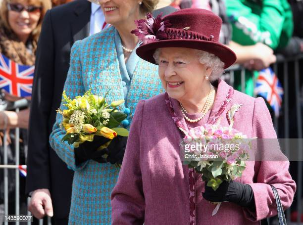 Queen Elizabeth II smiles as she undertakes a walkabout in Windsor on April 30 2012 in Windsor England