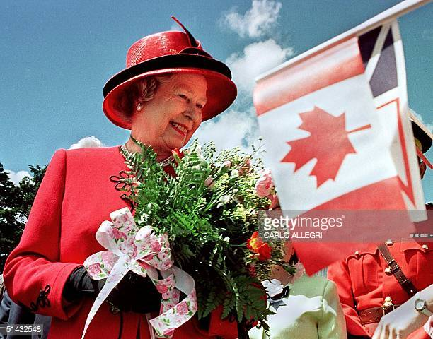 Queen Elizabeth II smiles as she visits Bowring Park in St John's Newfoundland 25 June The Queen is on the third day of a 10day official visit to...