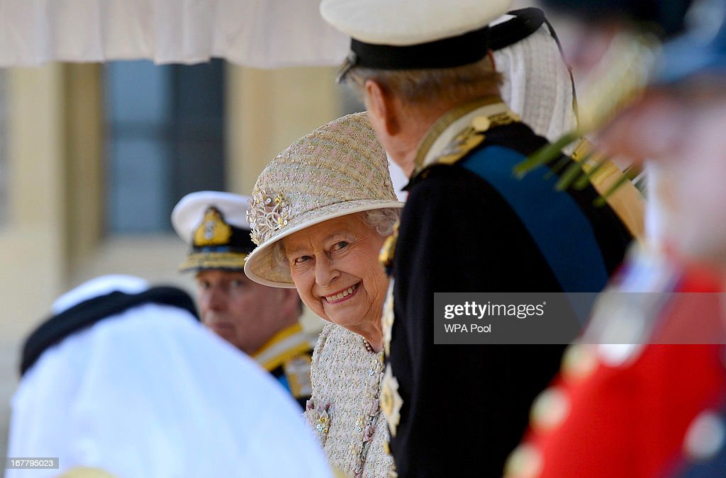 Queen Elizabeth II smiles during a ceremonial welcome for President of the United Arab Emirates, His Highness Sheikh Khalifa bin Zayed Al Nahyan on April 30, 2013 in Windsor, England. President Sheikh Khalifa begins a State visit to the UK today, the first for a UEA President in 24 years. Sheikh Khalifa will meet the British Prime Minister David Cameron tomorrow at his Downing Street residence.