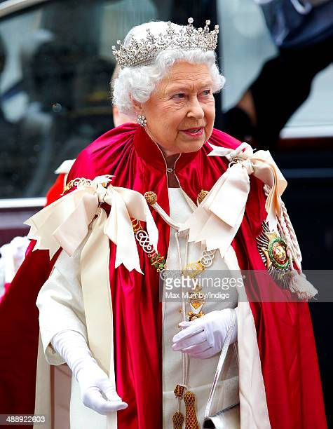 Queen Elizabeth II Sovereign Head of the Most Honourable Order of the Bath attends a Service of the Order at Westminster Abbey on May 9 2014 in...