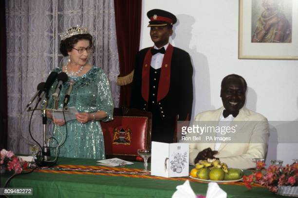 Queen Elizabeth II speaking at a State Banquet in Nairobi Kenya with Kenyan President Daniel Arap Moi watching right