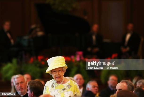 Queen Elizabeth II speaking at City Hall Belfast during a three day Royal visit to Northern Ireland