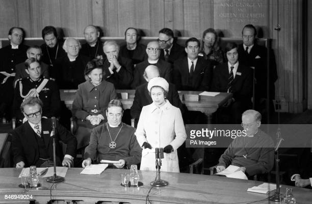 Queen Elizabeth II speaking at the opening of the Second General Synod of the Church of England at Church House Westminster Seated at the table are...
