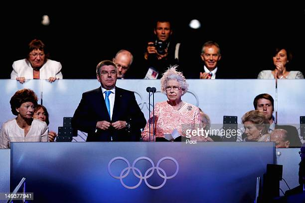 Queen Elizabeth II speaks during the Opening Ceremony of the London 2012 Olympic Games at the Olympic Stadium on July 27 2012 in London England