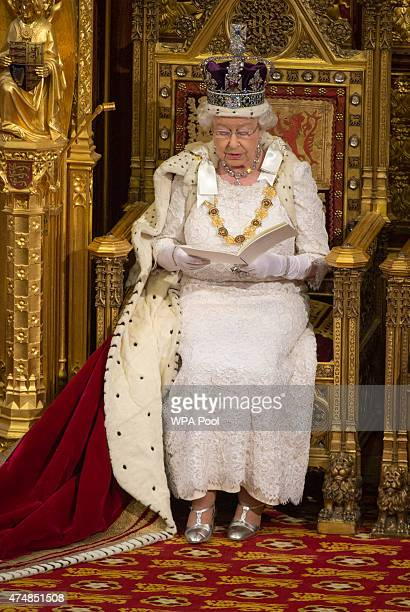 Queen Elizabeth II speaks during the State Opening of Parliament in the House of Lords at the Palace of Westminster on May 27 2015 in London England