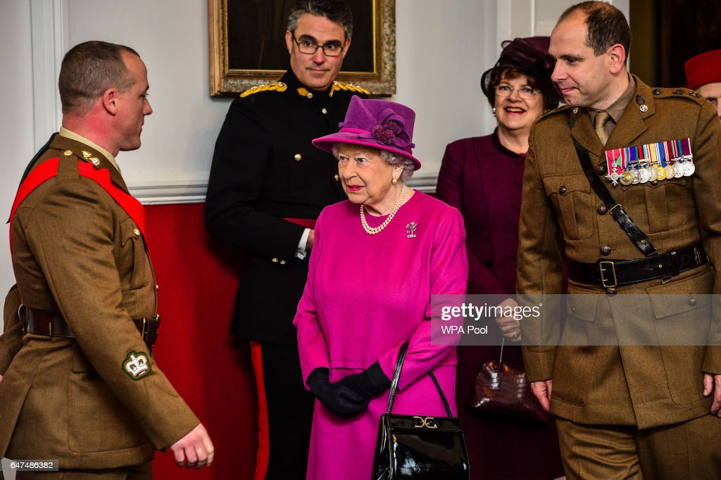 Queen Elizabeth II speaks to soldiers as she visitsThe Royal Welsh Regimental Family to mark St David's Day at Lucknow Barracks on March 3, 2017 in Tidworth, England.