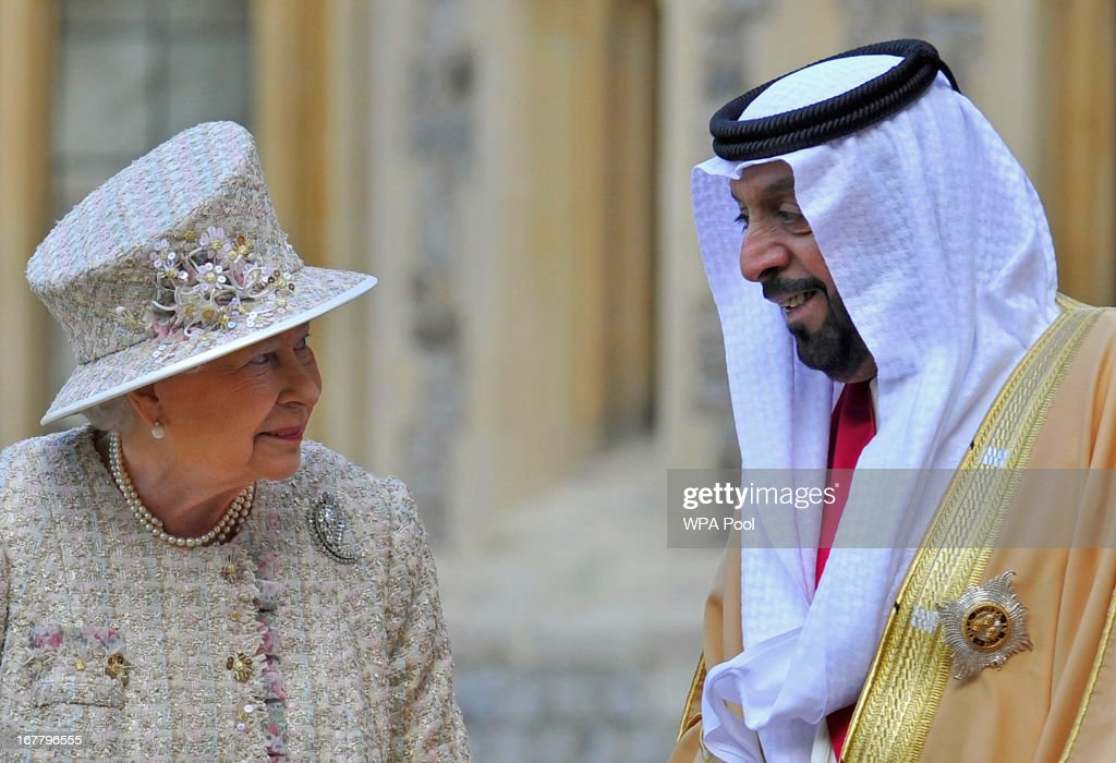 Queen Elizabeth II speaks with President of the United Arab Emirates, His Highness Sheikh Khalifa bin Zayed Al Nahyan during a ceremonial welcome in the quadrangle of Windsor Castle on April 30, 2013 in Windsor, England. President Sheikh Khalifa begins a State visit to the UK today, the first for a UEA President in 24 years. Sheikh Khalifa will meet the British Prime Minister David Cameron tomorrow at his Downing Street residence.