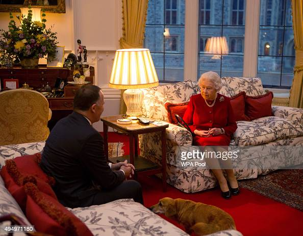 Queen Elizabeth II speaks with Prime Minister of New Zealand John Key at a audience held at Windsor Castle on October 29 2015 in Windsor England