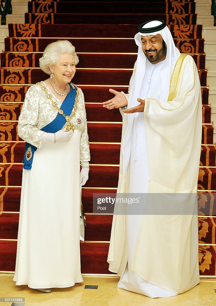 Queen Elizabeth II speaks with Sheikh Khalifa Bin Zayed al Nahyan the President of the United Arab Emirates at the Mushrif Palace on November 25, 2010 in Abu Dhabi, United Arab Emirates. Queen Elizabeth II and Prince Philip, Duke of Edinburgh are in Abu Dhabi on a State Visit to the Middle East. The Royal couple will spend two days in Abu Dhabi and three days in Oman.
