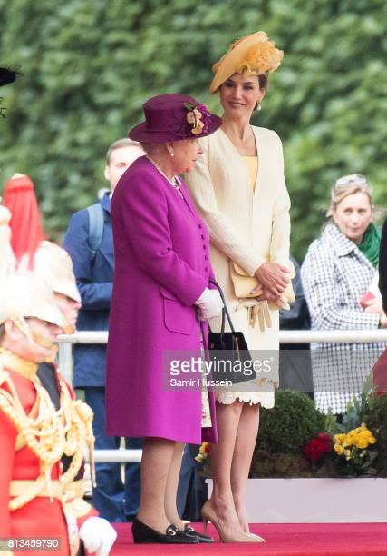 Queen Elizabeth II stands with Queen Letizia of Spain during a State visit by the King and Queen of Spain on July 12 2017 in London England This is...