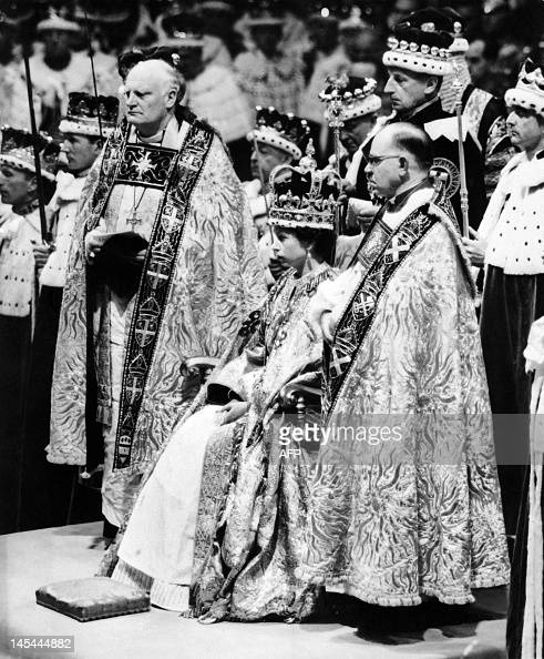 Queen Elizabeth II surrounded by the bishop of Durham Lord Michael Ramsay and the bishop of Bath and Wells Lord Harold Bradfield receives homage and...
