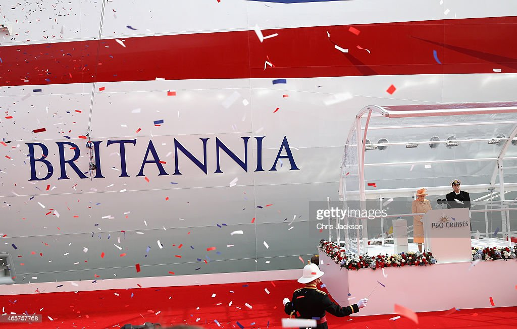 Queen Elizabeth II takes part in the naming ceremony for the P&O Cruises vessel at Ocean Cruise Terminal on March 10, 2015 in Southampton, England. Britannia will carry over 3647 passengers and at 141,000 tons she will boost P&O's cruise ship capacity by 24%.