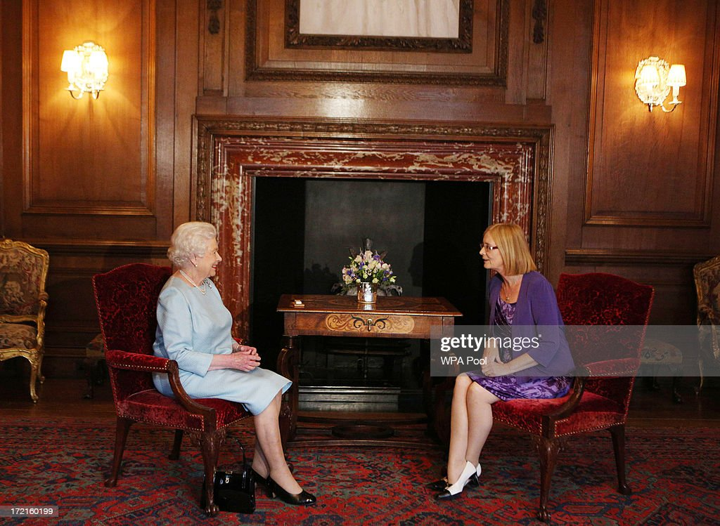 Queen <a gi-track='captionPersonalityLinkClicked' href=/galleries/search?phrase=Elizabeth+II&family=editorial&specificpeople=67226 ng-click='$event.stopPropagation()'>Elizabeth II</a> talks to Scottish Parliament Presiding Officer Tricia Marwick during an audience at the Palace of Holyrood House on July 2, 2013 in Edinburgh, Scotland. The Queen has several engagements on her annual week in Scotland.