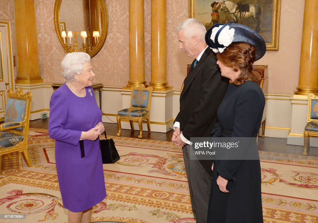 Queen Elizabeth II talks with Adrian O'Neill, the Irish Ambassador to the UK, and his wife Aisling, after he presented his Letters of Credence, at a private audience at Buckingham Palace on November 8, 2017 in London/ United Kingdom.