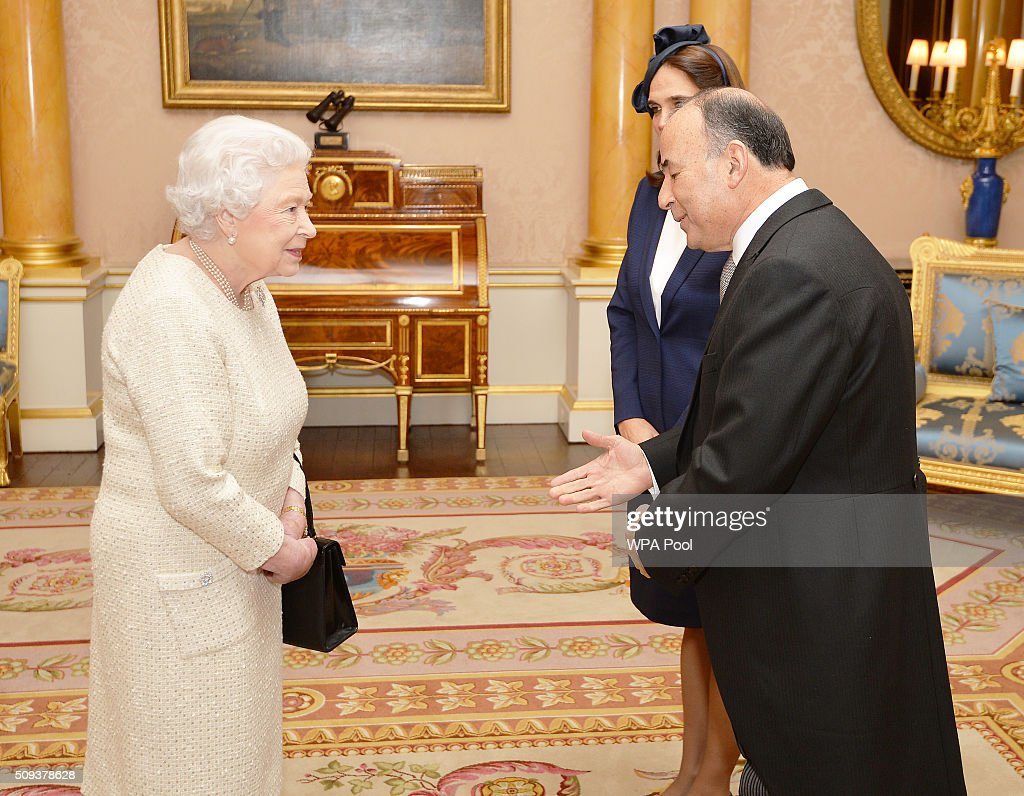 Queen Elizabeth II talks with His Excellency Mr Claudio de la Puente the Ambassador of Peru, and his wife Diana, after he presented his Letters of Credence during a private audience, at Buckingham Palace in Westminster on February 10, 2016 in London, England.
