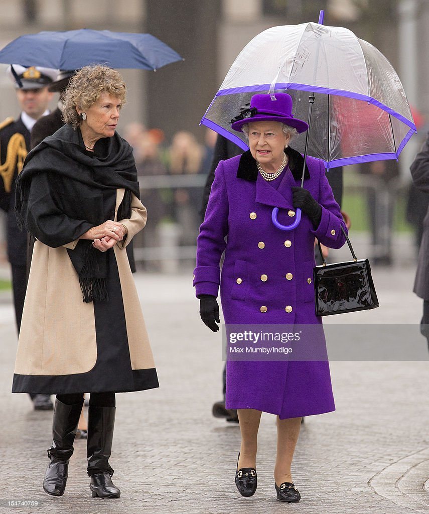 Queen Elizabeth II talks with Kate Hoey (L), Member of Parliament for Vauxhall, as she attends the opening of the newly developed Jubilee Gardens on October 25, 2012 in London, England.