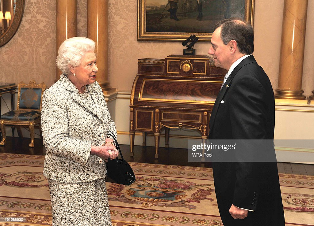 Queen <a gi-track='captionPersonalityLinkClicked' href=/galleries/search?phrase=Elizabeth+II&family=editorial&specificpeople=67226 ng-click='$event.stopPropagation()'>Elizabeth II</a> talks with the Ambassador of the Hellenic Republic Mr Konstantinos Bikas, during a private audience after he presented his Credentials at Buckingham Palace on February 12, 2013 in central London, England.