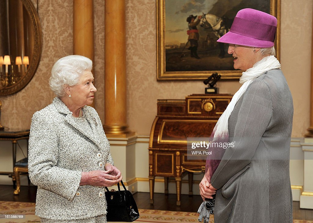 Queen <a gi-track='captionPersonalityLinkClicked' href=/galleries/search?phrase=Elizabeth+II&family=editorial&specificpeople=67226 ng-click='$event.stopPropagation()'>Elizabeth II</a> talks with the Ambassador of the Netherlands Ms Laetitia van den Assum, during a private audience after she presented her Credentials at Buckingham Palace on February 12, 2013 in London, England.