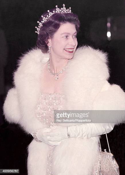 Queen Elizabeth II the Odeon Cinema in Leicester Square for the premiere of 'Doctor Dolittle' on 12th December 1967
