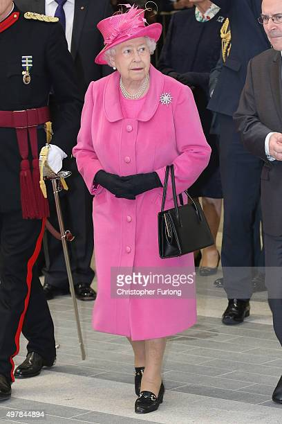 Queen Elizabeth II tours Birmingham New Street Station during the official opening of the refurbished rail station on November 19 2015 in London...