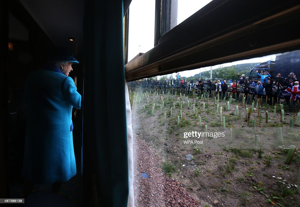 Queen Elizabeth II travels on a steam train to inaugurate the new £294 million Scottish Borders Railway, on the day the Queen becomes Britain's longest reigning monarch, on September 9, 2015 in Tweedbank, England.