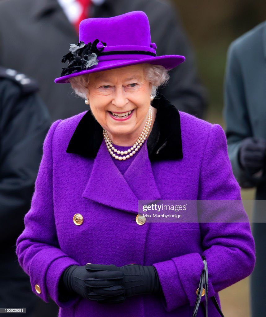 Queen Elizabeth II undertakes a walkabout after attending Sunday service at the church of St Peter and St Paul in West Newton on February 03, 2013 near King's Lynn, England.