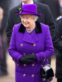 Queen Elizabeth II undertakes a walkabout after attending Sunday service at the church of St Peter and St Paul in West Newton on February 03 2013...