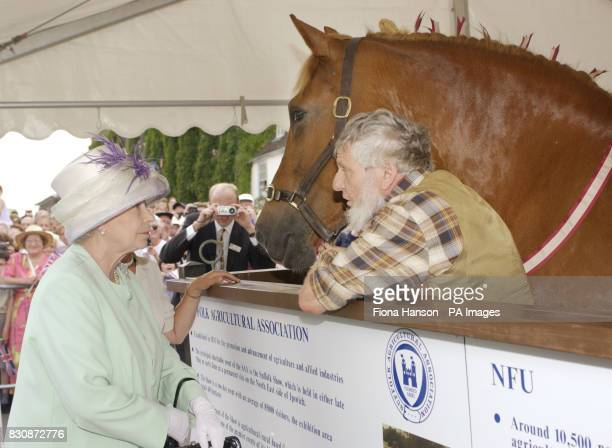 Queen Elizabeth II views a Suffolk Punch horse at Angel Hill Bury St Edmunds during her Golden Jubilee visit to Suffolk