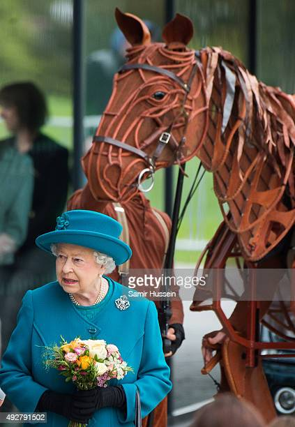 Queen Elizabeth II views War Horse as she visits The School of Veterinary Medicine at University of Surrey on October 15 2015 in Guildford England