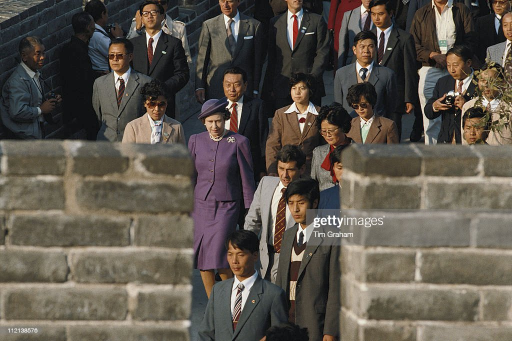 Queen Elizabeth II visiting the Great Wall Of China, at Badaling, near Beijing, during an official state visit to China, 14 October 1986.