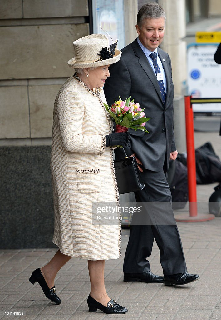 Queen Elizabeth II visits Baker Street Underground Station to mark the 150th anniversary of the London Underground on March 20, 2013 in London, England.