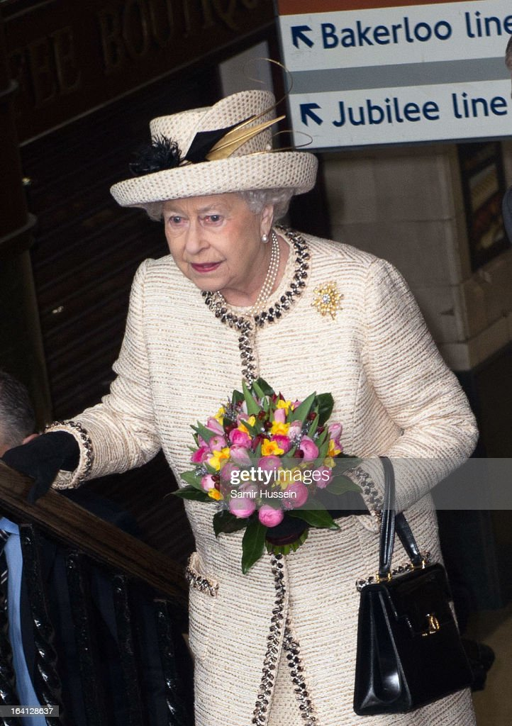 Queen Elizabeth II visits Baker Street Underground Station to celebrate the Underground's 150th Birthday on March 20, 2013 in London, England.
