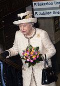 Queen Elizabeth II visits Baker Street Underground Station to celebrate the Underground's 150th Birthday on March 20 2013 in London England