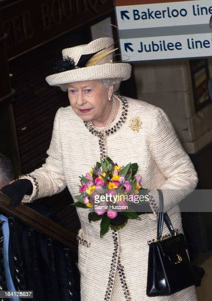 Queen Elizabeth II visits Baker Street Underground Station to celebrate the Underground's 150th Birthday on March 20 2013 in London England