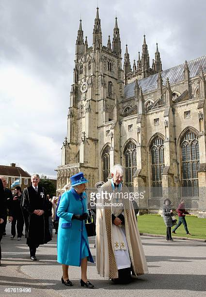 Queen Elizabeth II visits Canterbury Cathedral on March 26 2015 in Canterbury England
