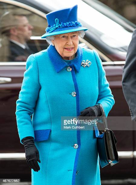 Queen Elizabeth II visits Canterbury Cathedral where she unveiled a statue of herself and one of Prince Philip Duke of Edinburgh on March 26 2015 in...