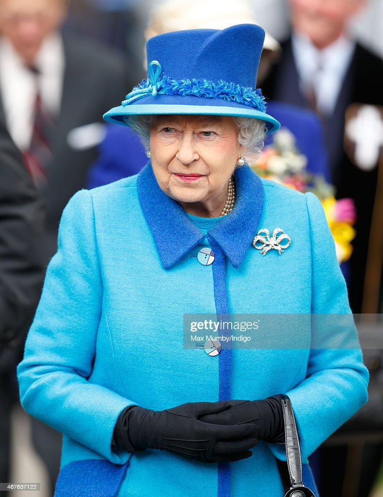 Queen Elizabeth II visits Canterbury Cathedral where she unveiled a statue of herself and one of Prince Philip, Duke of Edinburgh to mark her Diamond Jubilee on March 26, 2015 in Canterbury, England.