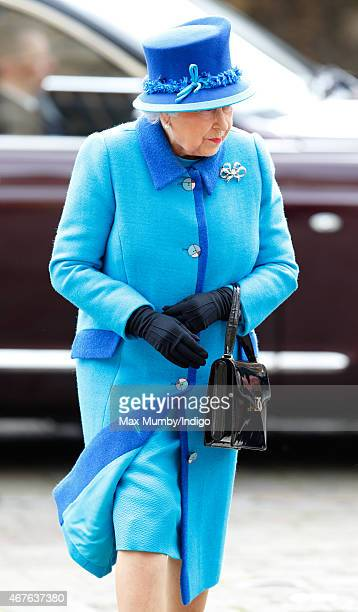 Queen Elizabeth II visits Canterbury Cathedral where she unveiled a statue of herself and one of Prince Philip Duke of Edinburgh to mark her Diamond...