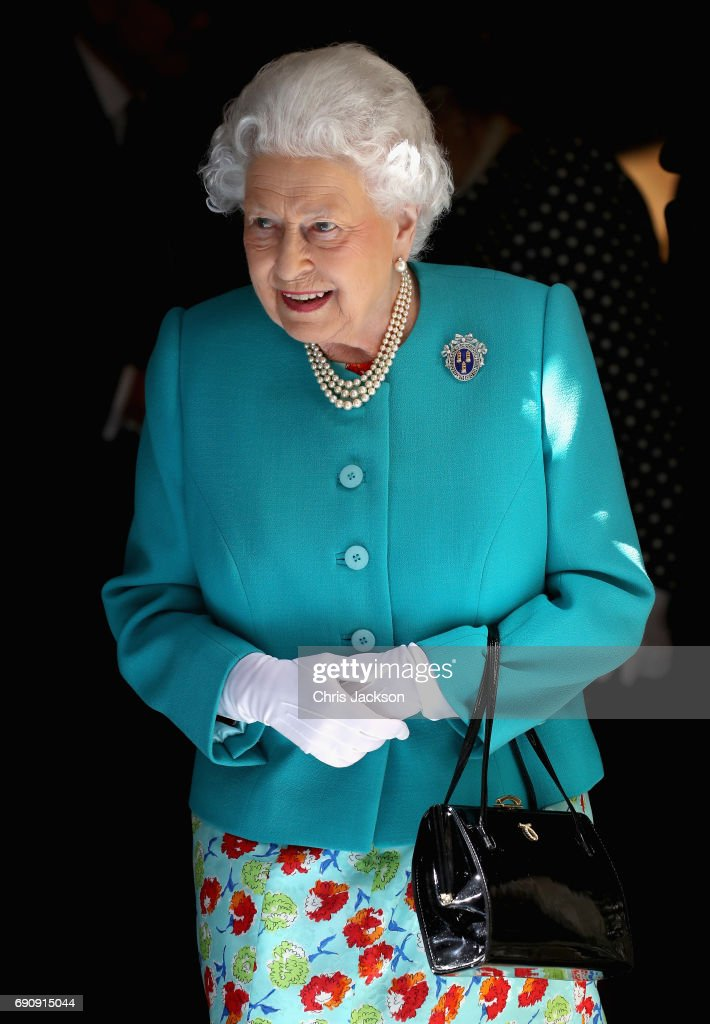 Queen Elizabeth II visits Drapers' Hall for a luncheon on the occasion of the 70th Anniversary of Her Majesty's Admission to the Freedom of the Company on May 31, 2017 in London, England.