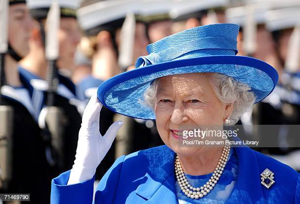 Queen Elizabeth II visits HMS Albion for the 250th anniversary of the Marine Society and Sea Cadets on July 14 2006 in Greenwich London England