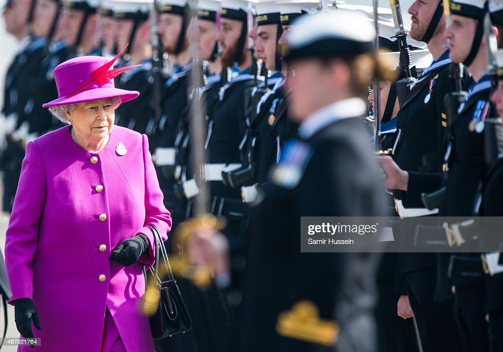 Queen Elizabeth II visits HMS Ocean on March 20, 2015 in Plymouth, England.