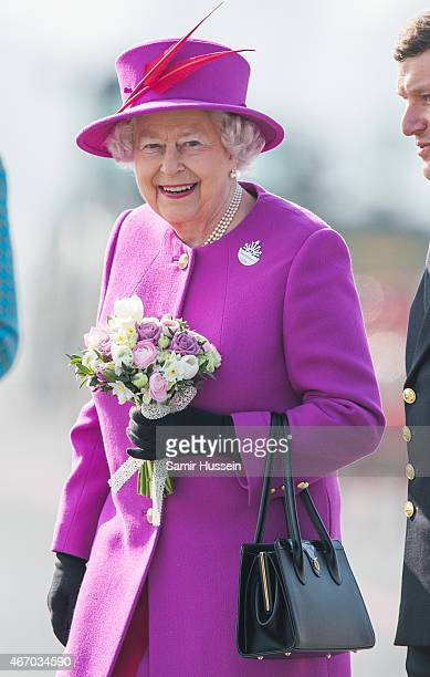 Queen Elizabeth II visits HMS Ocean on March 20 2015 in Plymouth England