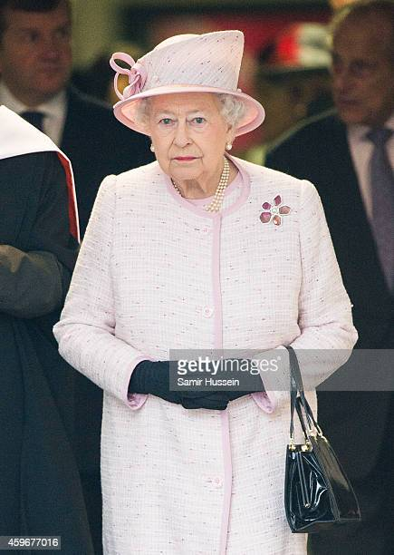 Queen Elizabeth II visits Holyport College on an official visit on November 28 2014 in Holyport England