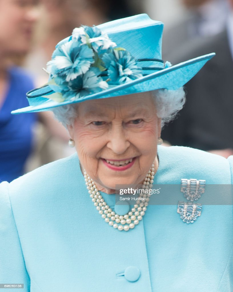 Queen Elizabeth II visits Mayflower Primary School during an official visit to Tower Hamlets on June 15, 2017 in London, England. The visit coincides with commemorations for the centenary of the bombing of Upper North Street School during the First World War.