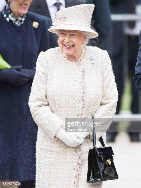 Queen Elizabeth II visits Pangbourne College to celebrate it's centenary at Pangbourne College on May 9 2017 in Pangbourne England
