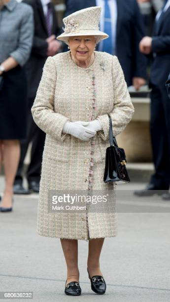 Queen Elizabeth II visits Pangbourne College to celebrate it's centenary on May 9 2017 in Pangbourne England