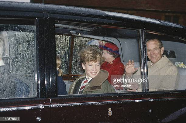 Queen Elizabeth II visits Port Regis School in Shaftesbury Dorset with her husband Prince Philip and their grandson Peter Phillips 23rd February 1991...