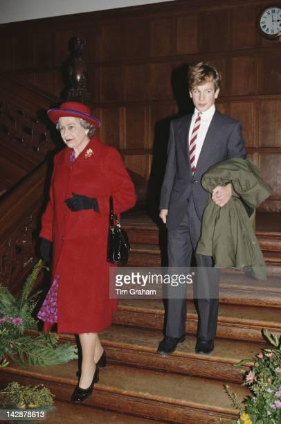 Queen Elizabeth II visits Port Regis School in Shaftesbury Dorset with grandson Peter Phillips 23rd February 1991 Peter is a pupil at the school