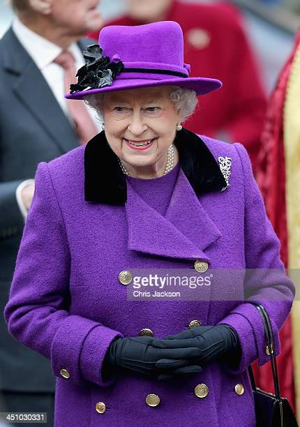 Queen Elizabeth II visits Southwark Cathedral on November 21 2013 in London England